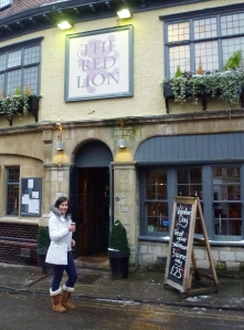Cathy Price, outside her 300th Red Lion in central Oxford